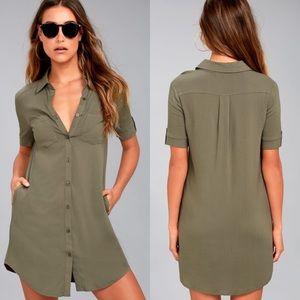 Lulus Oxford Olive Green Shirt Dress